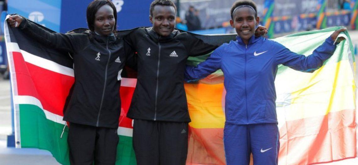 Keniana Jepkosgei gana maratón de mujeres en NY